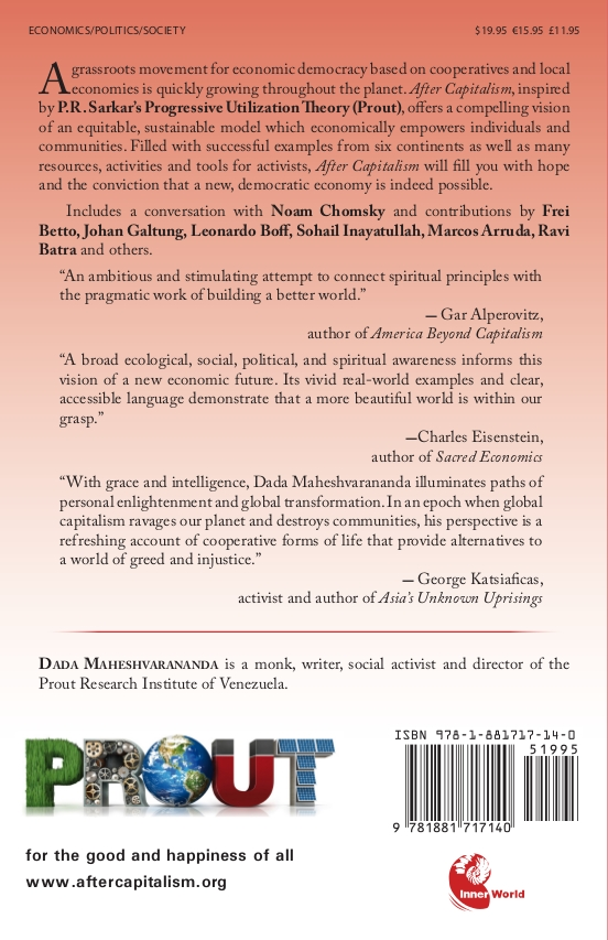 """After Capitalism: Economic Democracy in Action"" by Dada Maheshvarananda back cover"