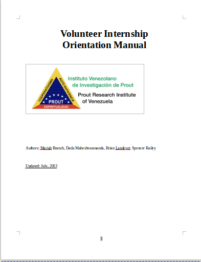 The Prout Research Institute of Venezuela Orientation Manual