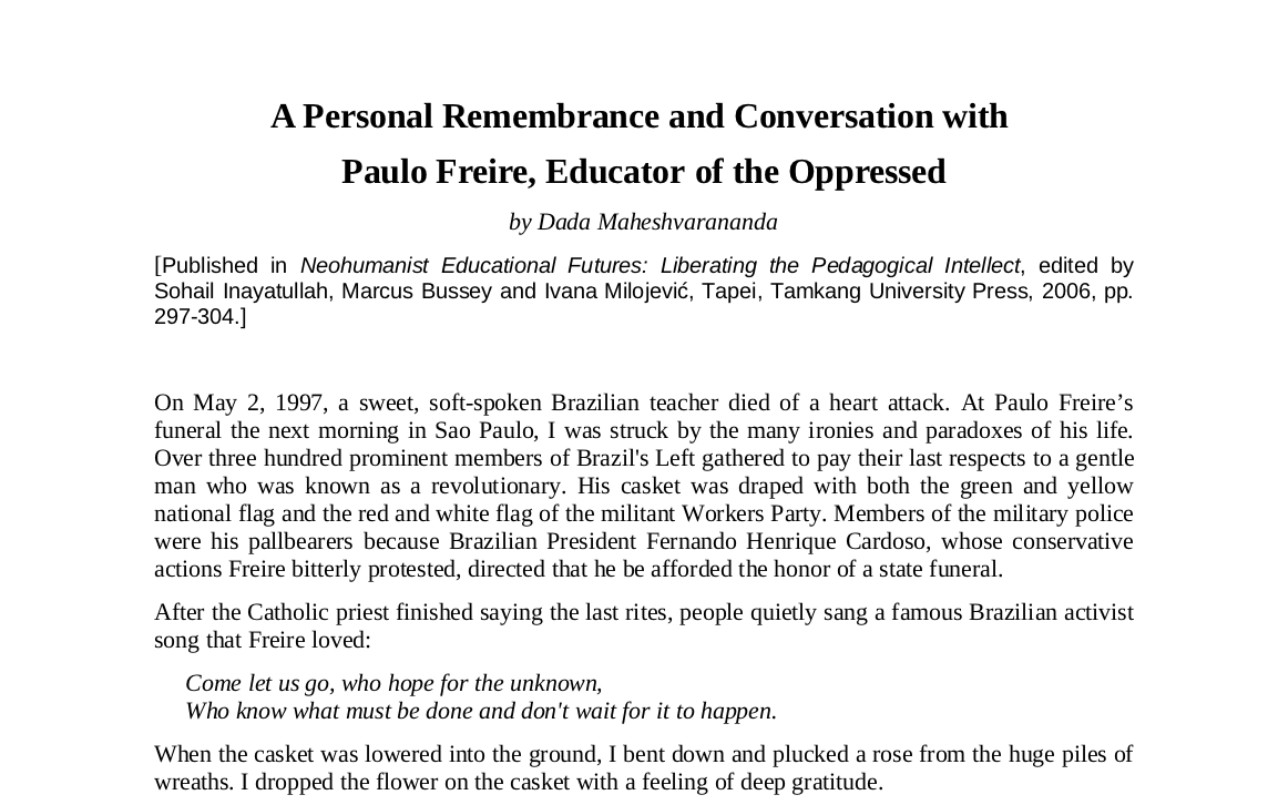 Interview with Paulo Freire