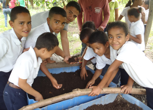 Enseñando a los estudiantes de primaria acerca de lumbricultura.